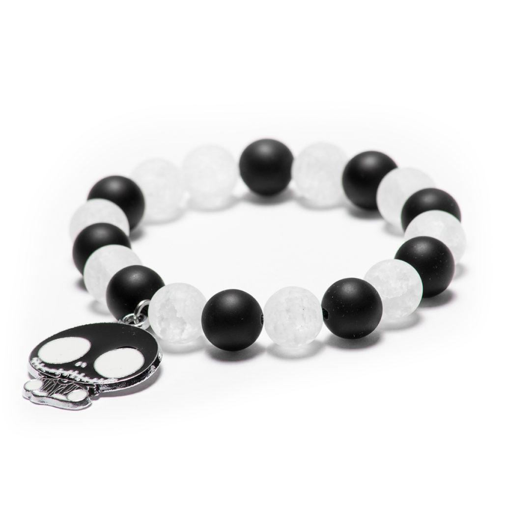 Frosted White Crystal Quartz & Black Onyx with Jack Charm